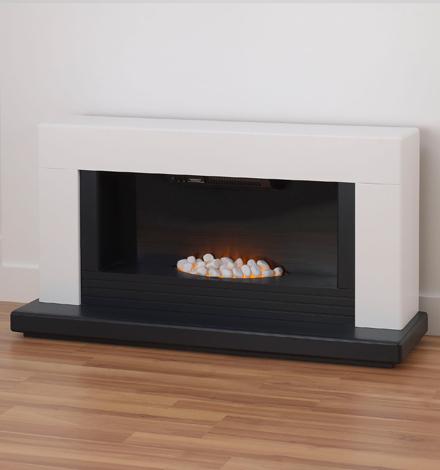 Adam Carrera White & Black Electric Fireplace Suite
